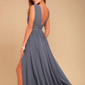 LuLu's Heavenly Hues Denim Blue Maxi Dress